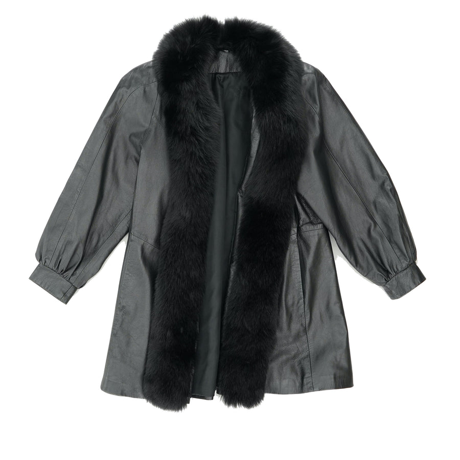 Fur Trim Leather Coat Size S