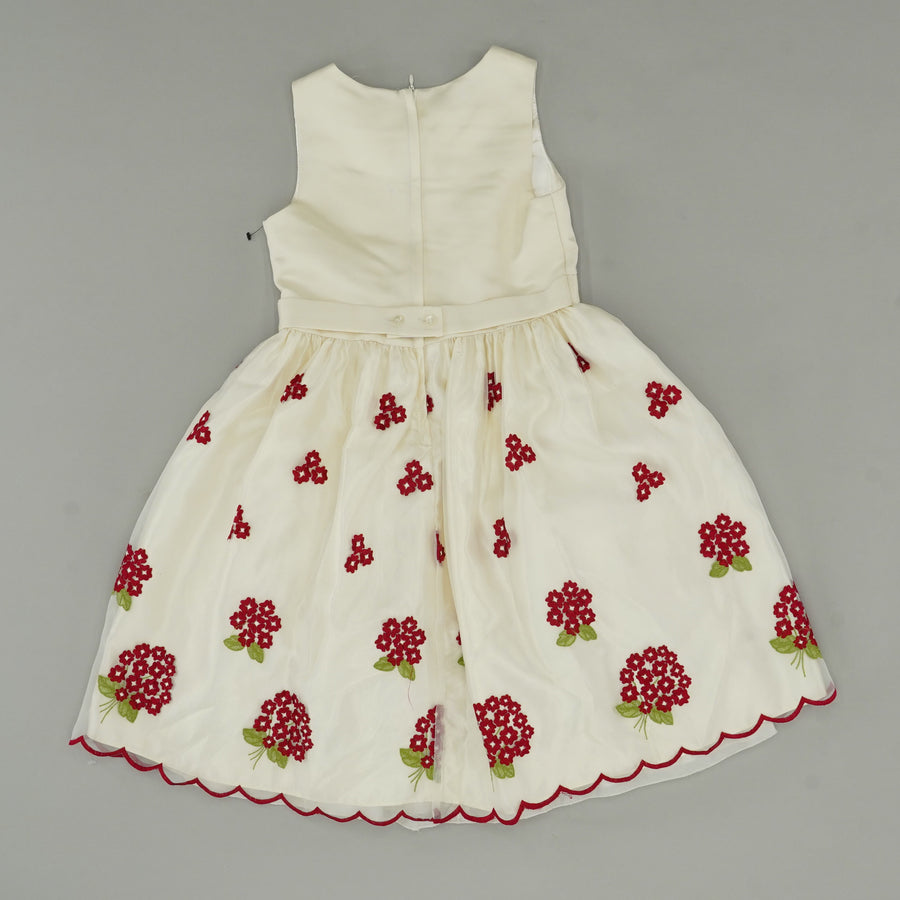 Ivory Dress with Embroidered Flowers Size 10