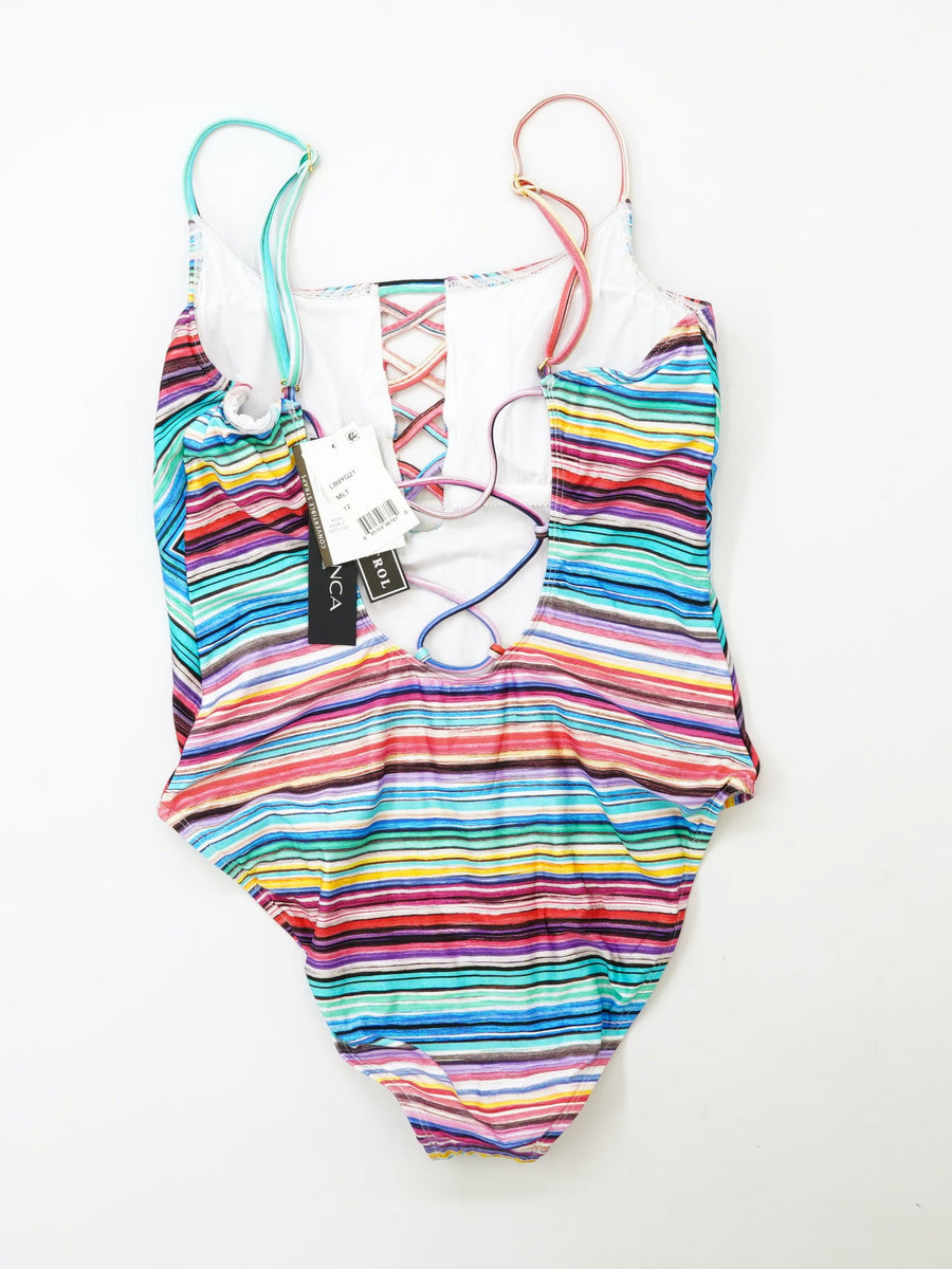 Lace Up Detail One Piece Swimsuit Size 12