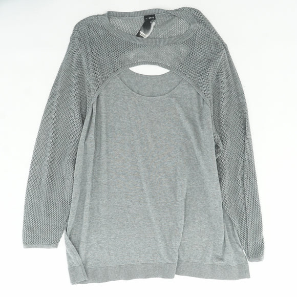 Gray Mix Stitch Peek Neck Sweater Size 6