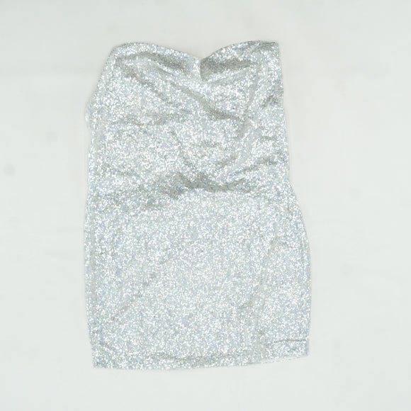 Tarria Silver Sequin Chain Choker Mini Dress Size 10