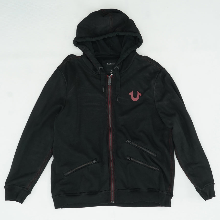 Black Zip Up Hoodie With Maroon Logo Size 3XL