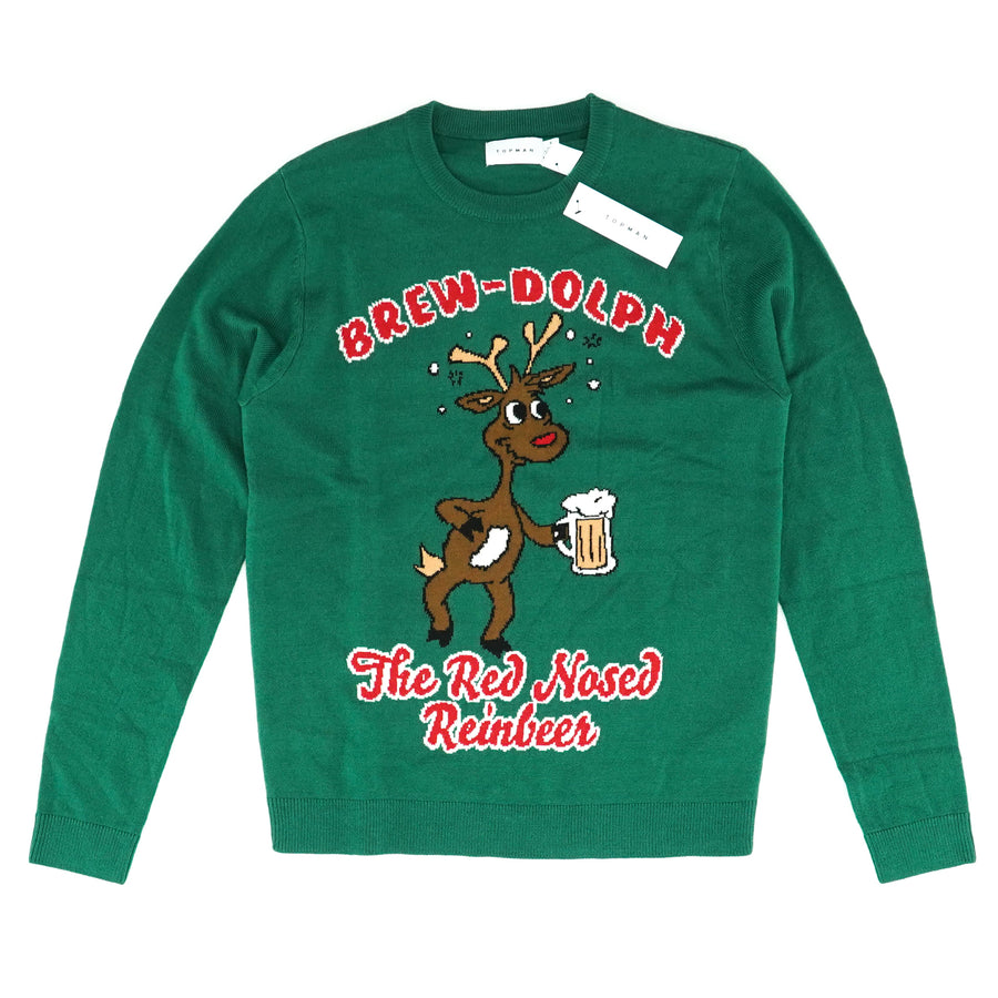 Green Brew-Dolph The Red Nosed Reinbeer Sweater