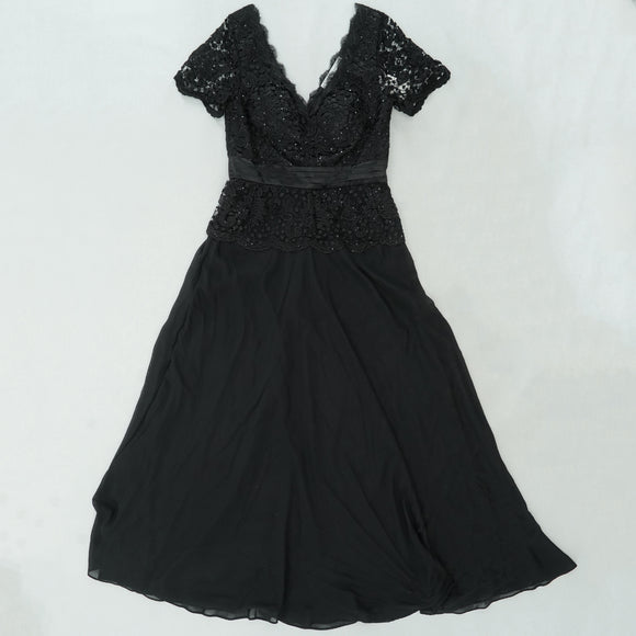Embellished Lace Scalloped V-Neck Dress Size L