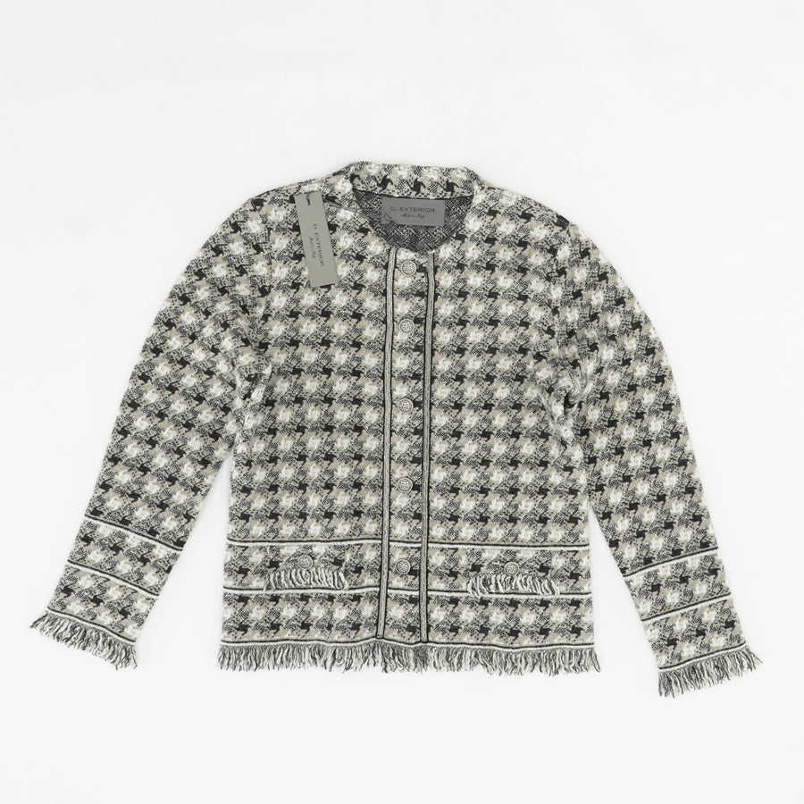 Houndstooth Jacket with Fringe Size XL