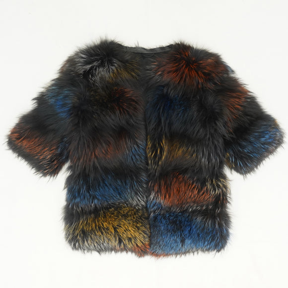 Long Hair Dyed Fur Jacket with Leather Trim Size M/L