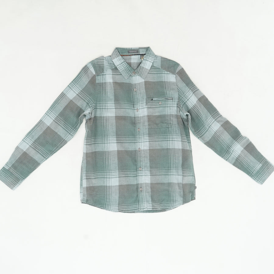 Teal Plaid Button-Up - Size S