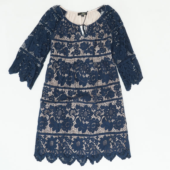 Navy Eyelet Midi Dress Size L