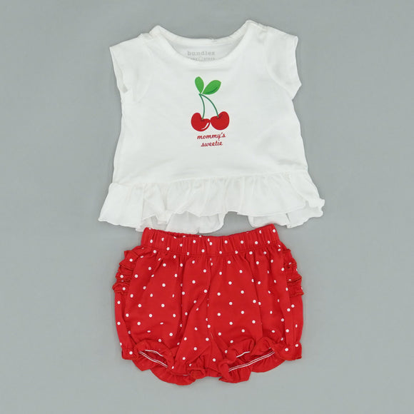 Cherry Ruffle Bottom Top with Polka Dot Bloomers Size 0-3 Months