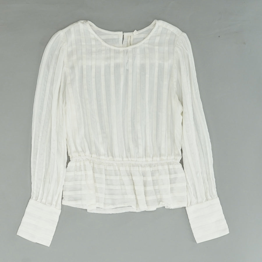 Ruffle Trim Blouse With Button Cuff Details Size S