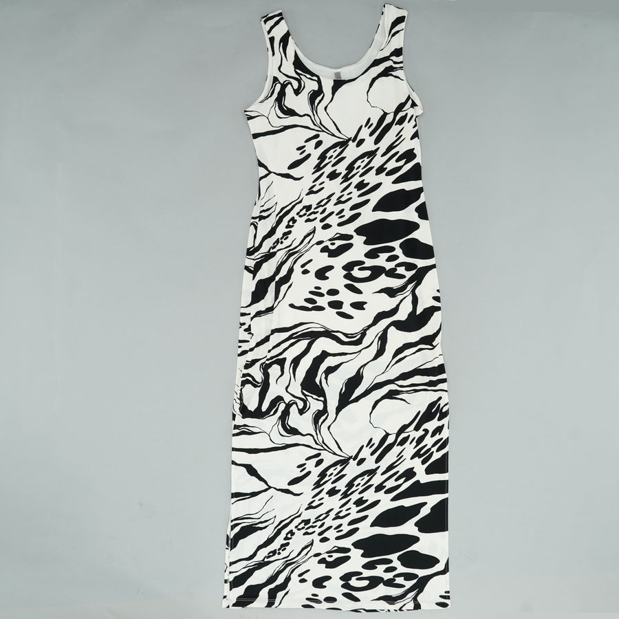 Maxi Dress Black and Creme