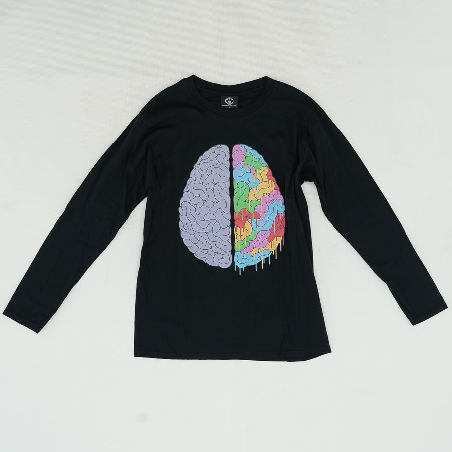 Brain Long Sleeve Graphic Tee Size M