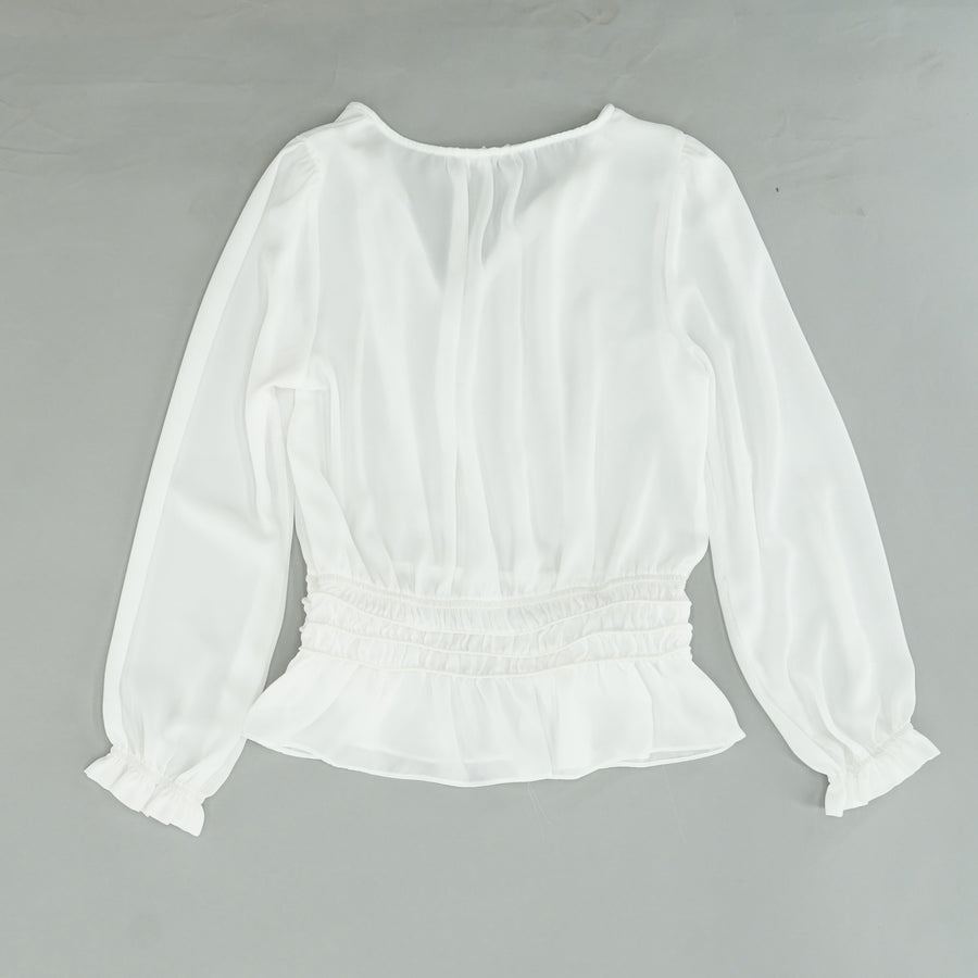 White Ruffle Trim Blouse Size M