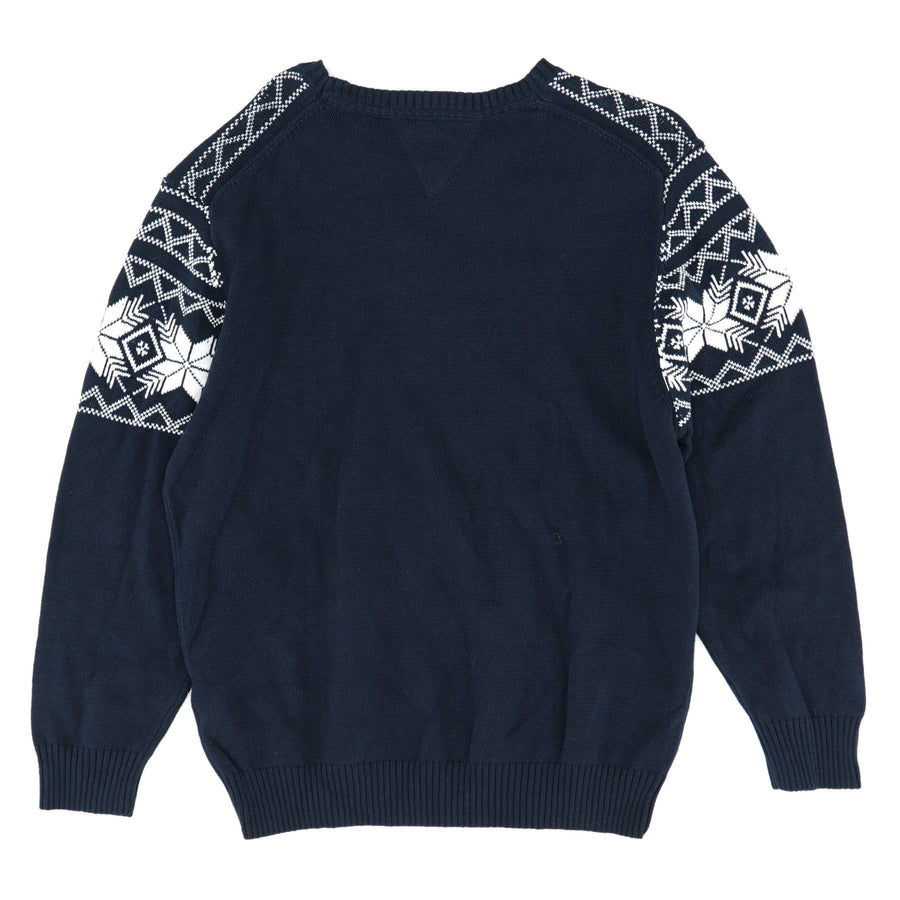 Vintage Snowflake Pattern Crew Neck Sweater