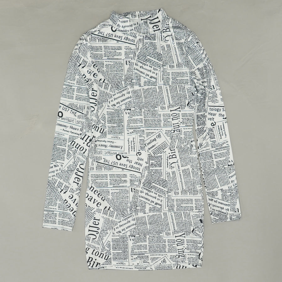 Mock Neck Newspaper Print Dress Size XS