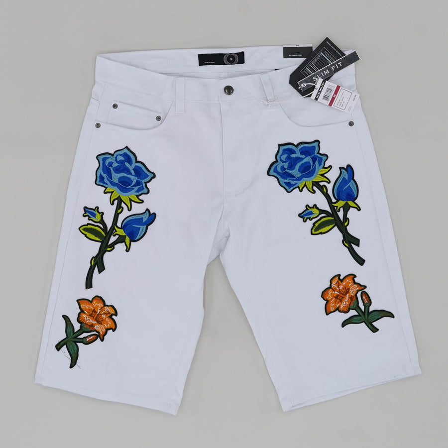 Blue Rose Patchwork Shorts