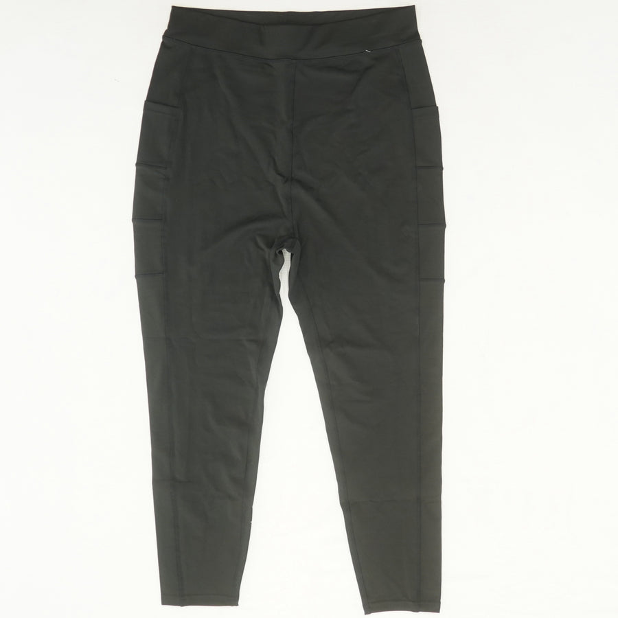 Black Solid Leggings With Pockets Size XL, 3XL