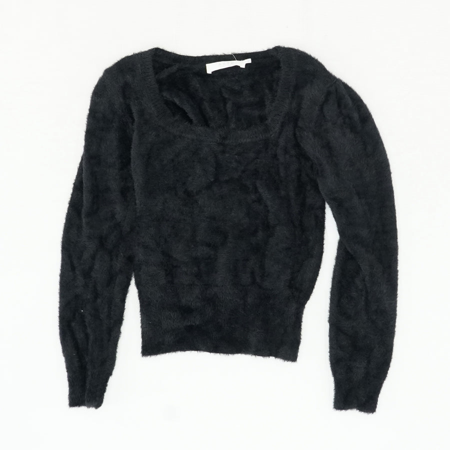 Black Fuzzy Swoop Neck Sweater Size S