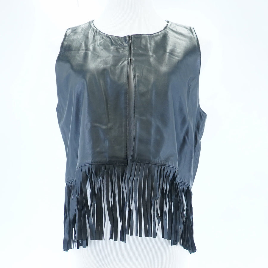 Fringe Bottom Leather Vest Size 12