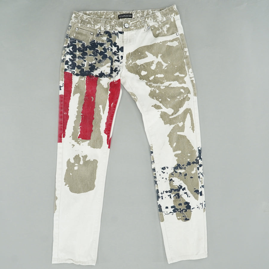 White Patriotic Flag Straight Jeans Size 34W 32L