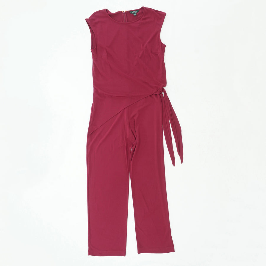 Wine Side Tie Jersey Jumpsuit Size L