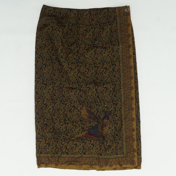 Wool Blend Wrap Paisley Skirt Size 14