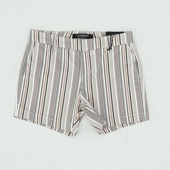 Coral Stripe Trouser Shorts