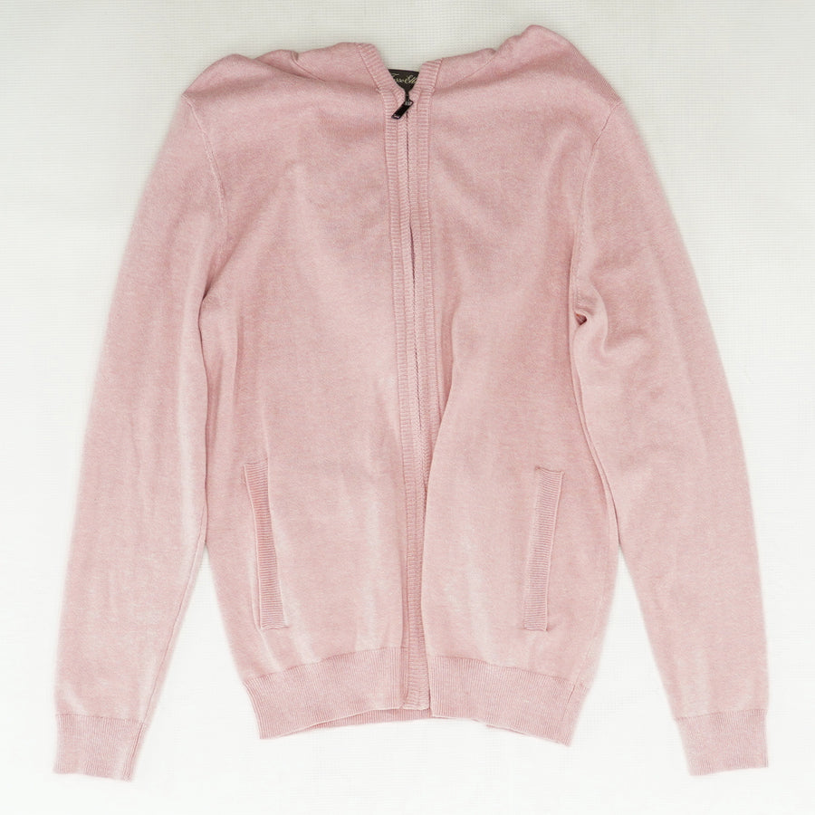 Pink Knit Zip-Up Sweater Size S