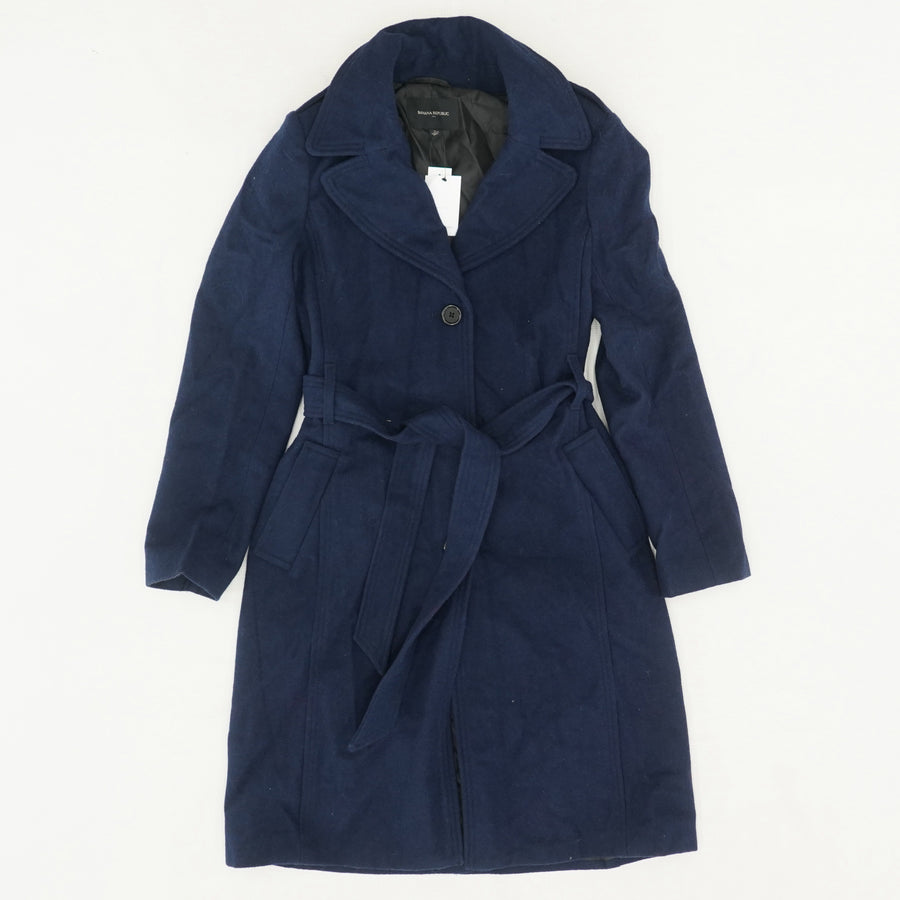 Long Military Wool Trench Coat - Size S