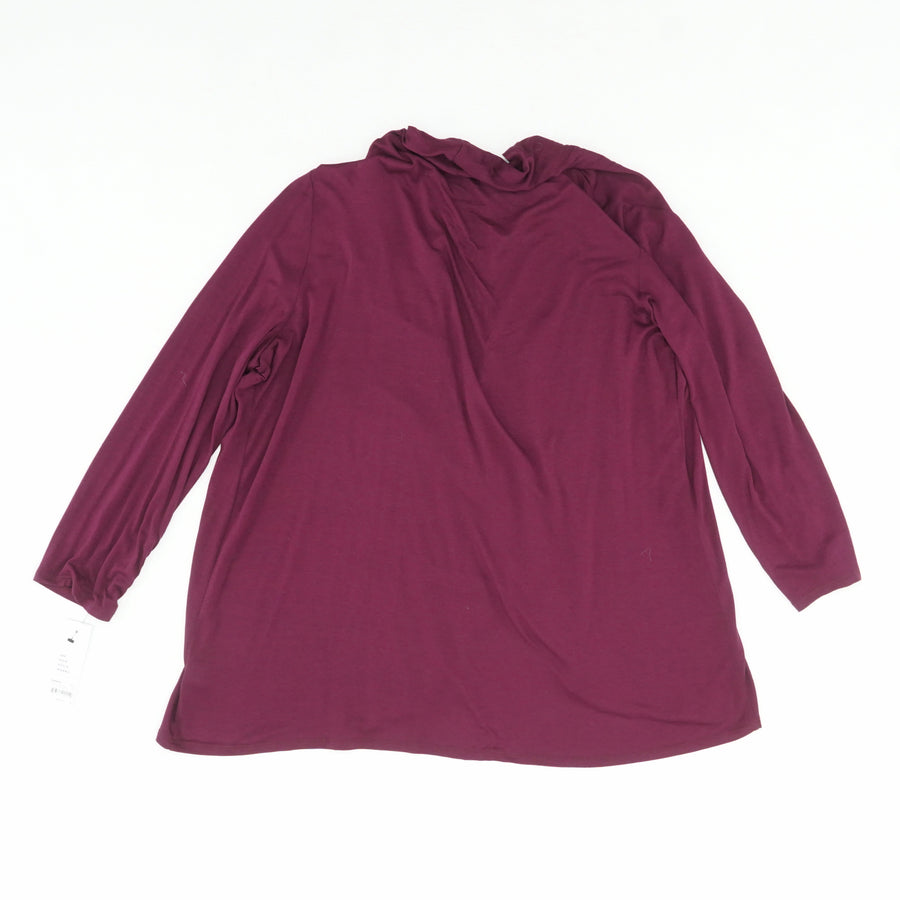 Burgundy Ruched-Sleeve Open-Front Cardigan Size L