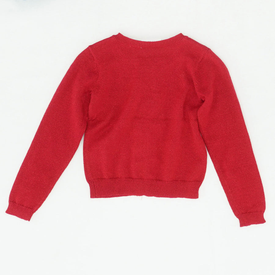 Red Ruffle Button Down Sweater Size 5T