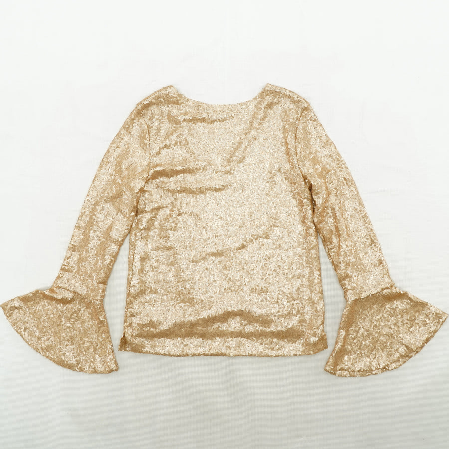 Tan Bell Sleeve Sequin Top