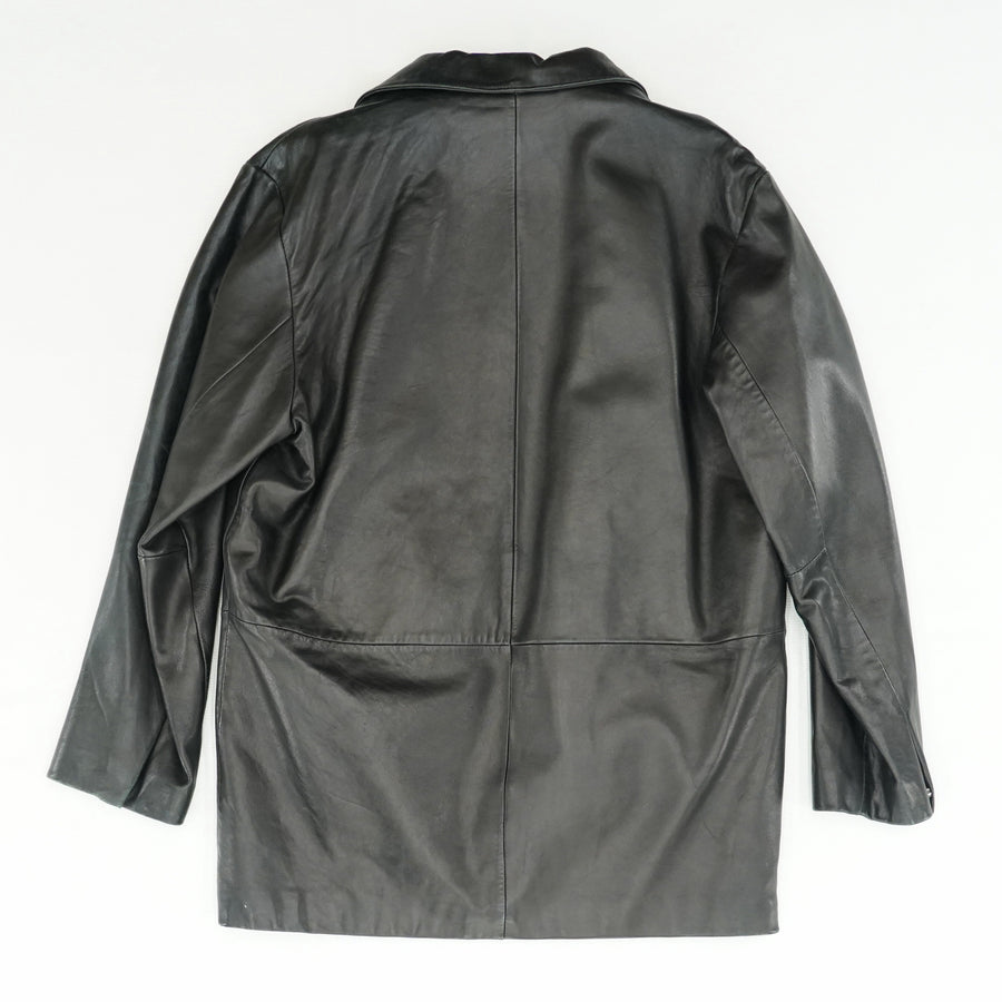 Asymmetrical Button Up Leather Jacket - Size M