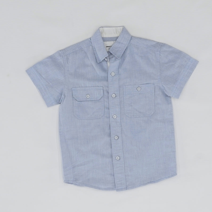 Chambray Short Sleeve Button Down Size 4