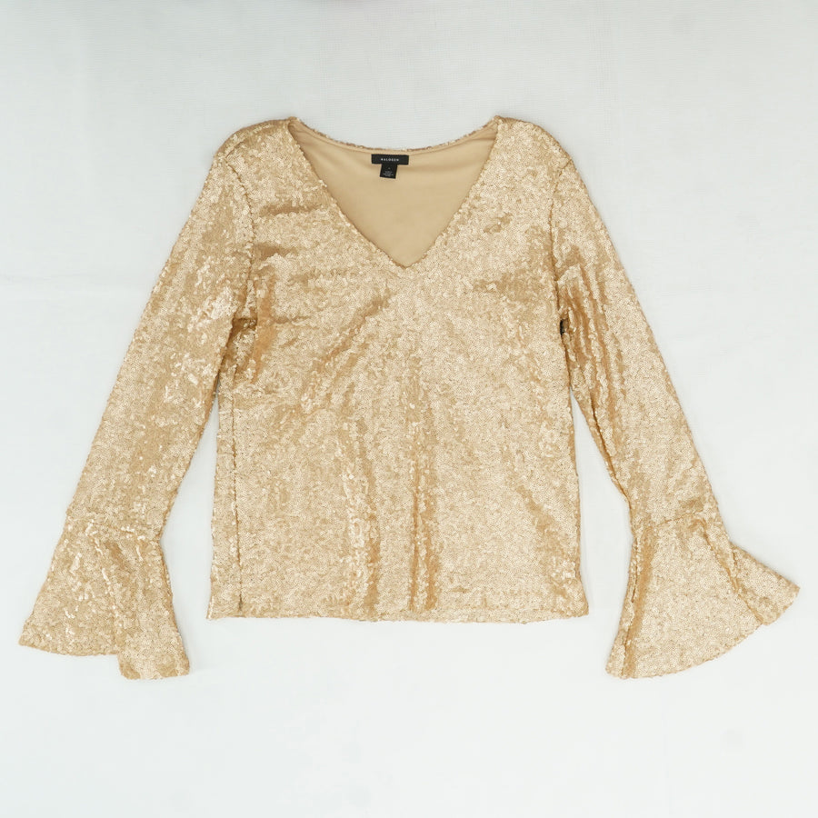Gold Sequin V-Neck Size S