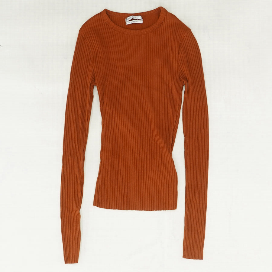 Burnt Orange Ribbed Long Sleeve Top Size XS