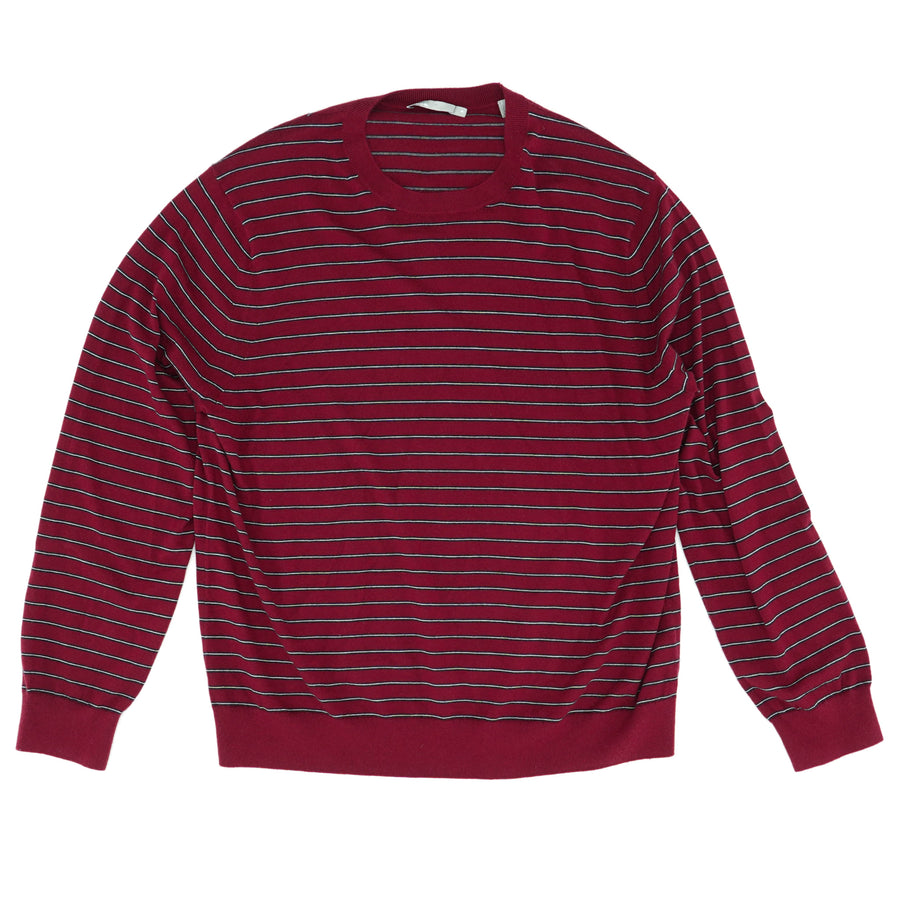Striped Wool/Cashmere Maroon Crew Neck Sweater Size XL