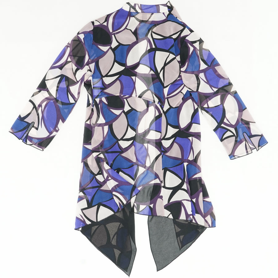 Canvas Blue Ink Combo Sheer Cardigan Size 8