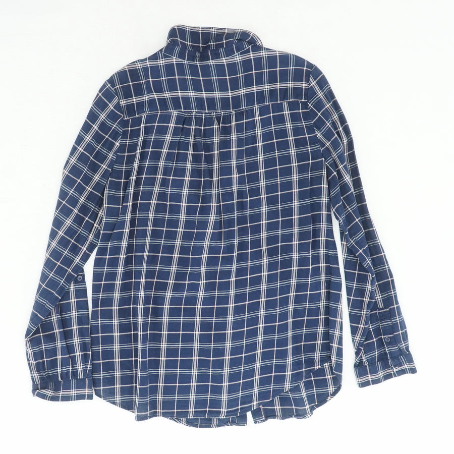 Fara B Plaid Ruffle Neck Button Down Size M