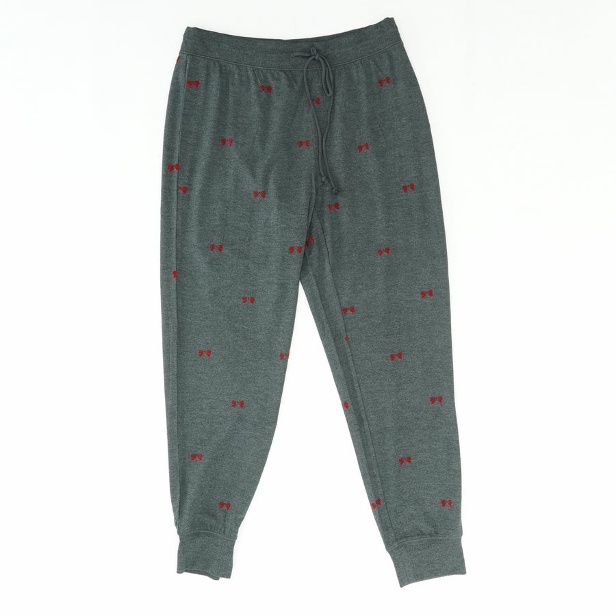 Gray With Red Bows Pajama Pants Size S
