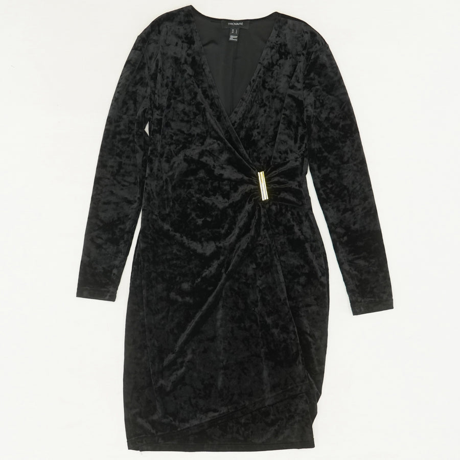 Black Velvet Long Sleeve Dress Size L