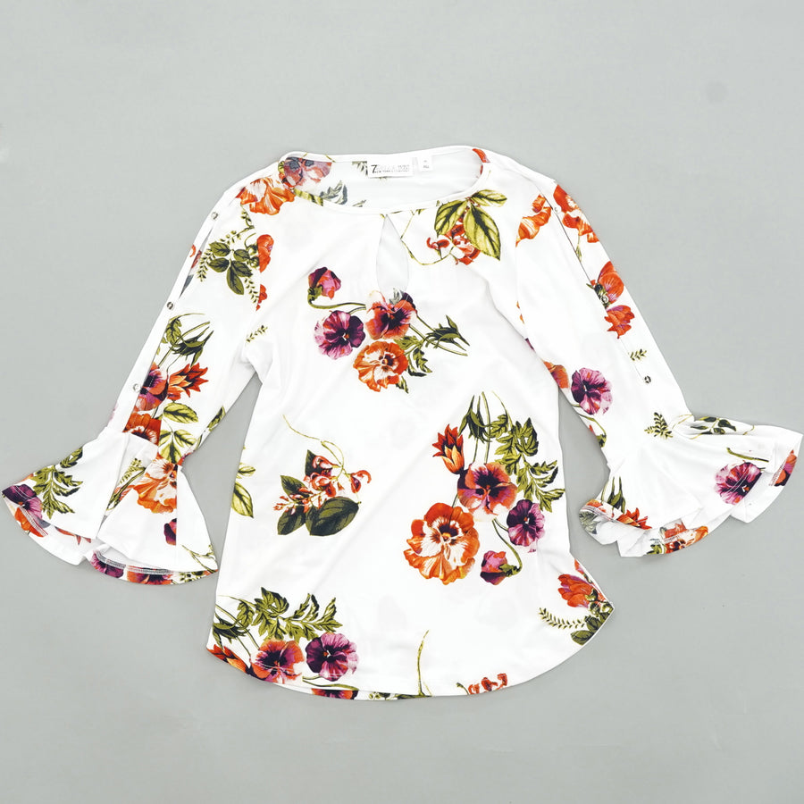 Floral Bell Sleeve Top Size XS