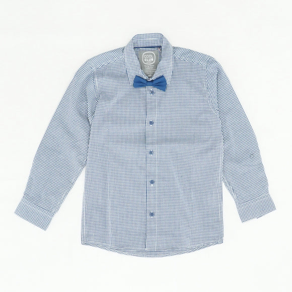 Blue Checked Button Down With Bow Tie 2PC Set Size S