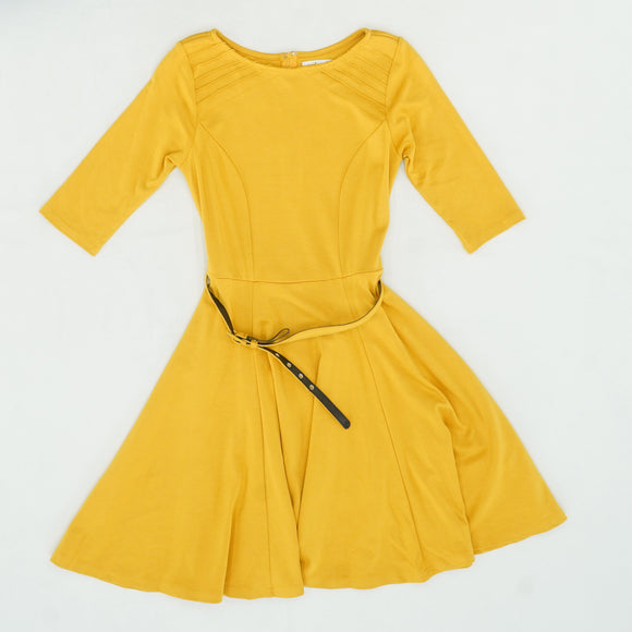 Mustard Yellow Stephanie Fit & Flare Dress Size 6-8