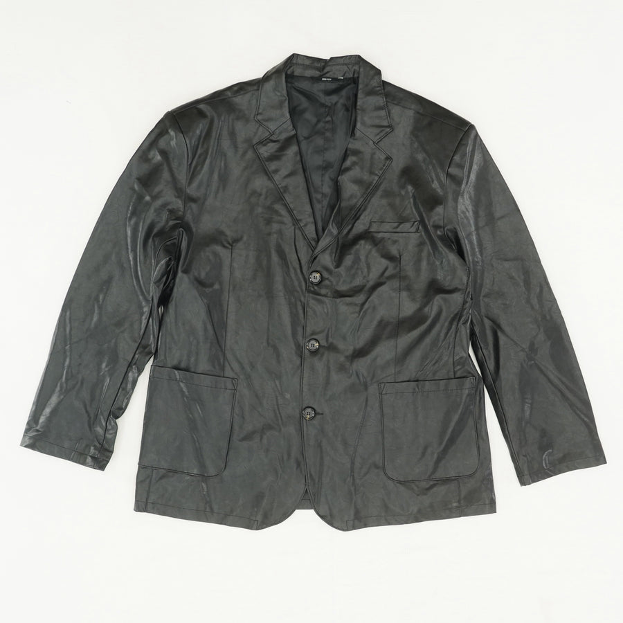 Faux Leather Button Down Jacket - Size S/M