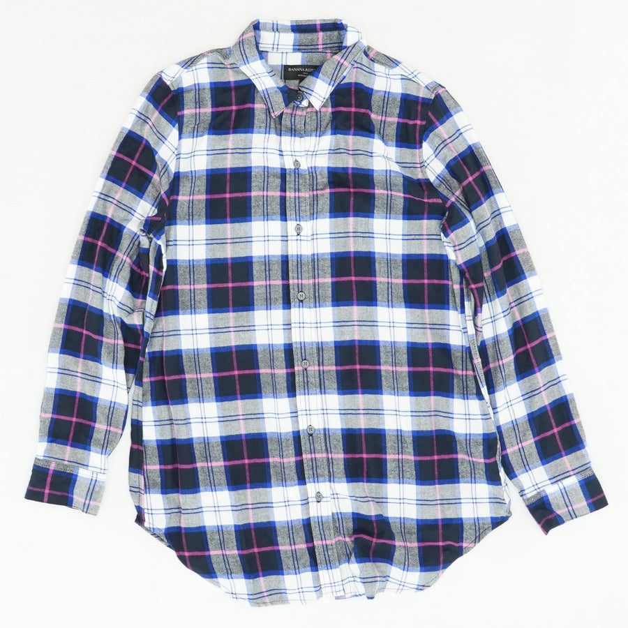 Boyfriend Cut Plaid Shirt Size S