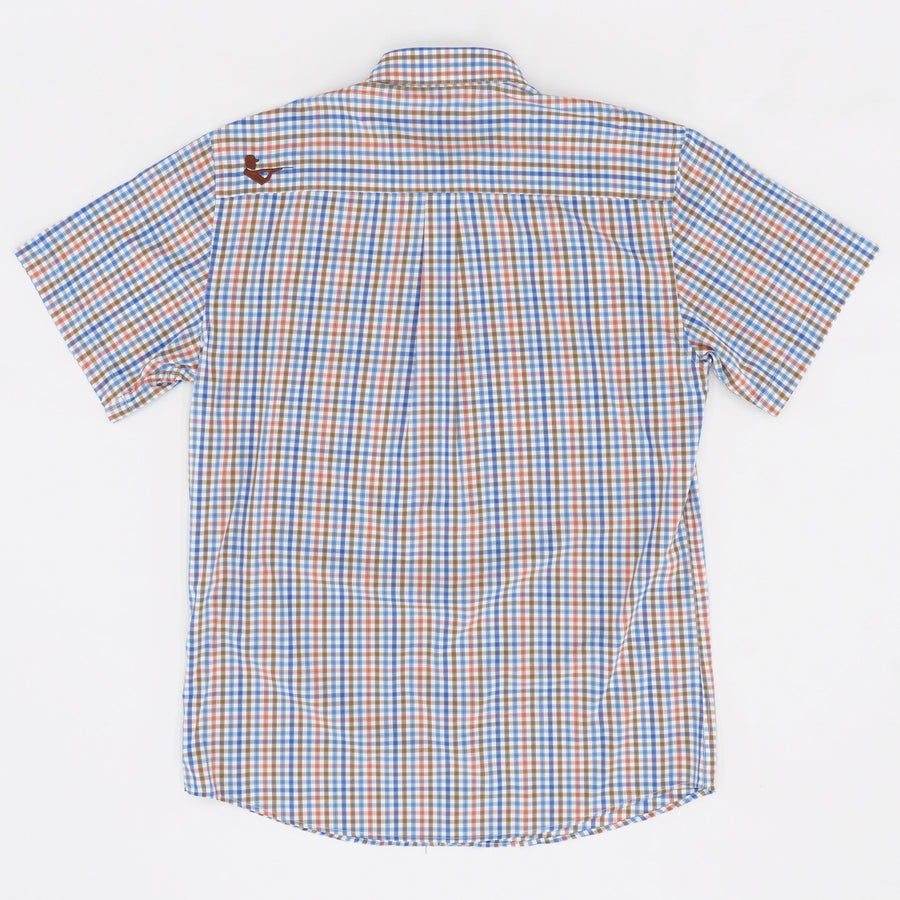 Bamboo Blend Plaid Short Sleeve Button Down