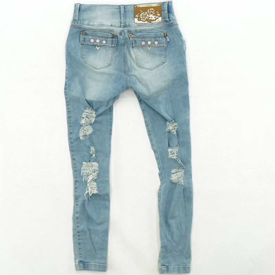 Distressed Gem Jeans Size 14