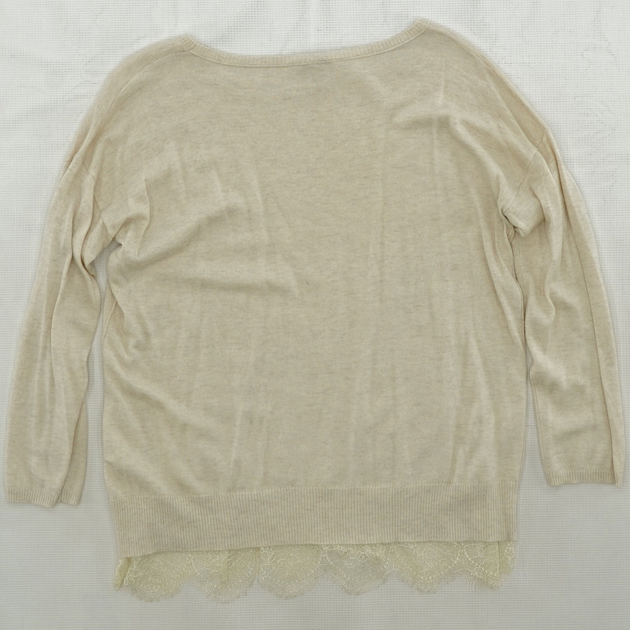 Tan Sweater with Lace Trim Size M