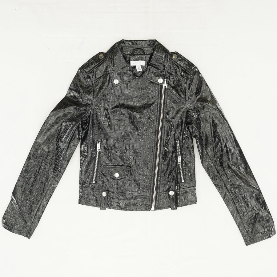 Croc Embossed Faux Leather Jacket Size 0